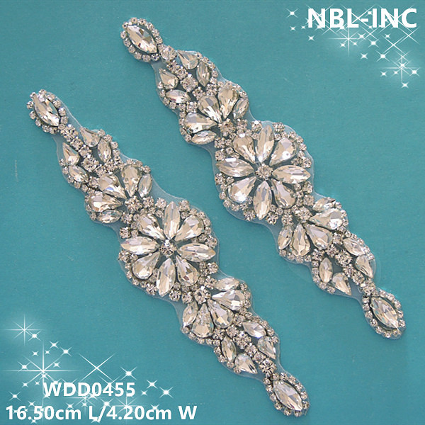 30pcs Wholesale bridal wedding beaded sewing silver crystal rhinestone applique for dresses DIY iron on