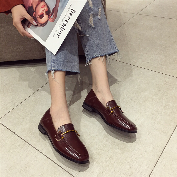 Fashion shoes for women 2018 new soft bottom British shoes woman square head single shoes female thick with flat shoes loafers 69