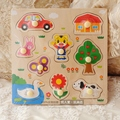 Cute tiger tiger Japan export wooden puzzle toy traffic makeup paired animal cognitive