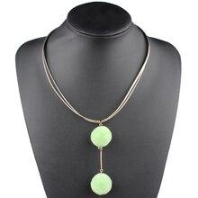 09f64fca12dd Claire Jin Pom encanto colgante collar redondo bolas mujeres joyería cuerda  de cuero accesorios de moda encantadora