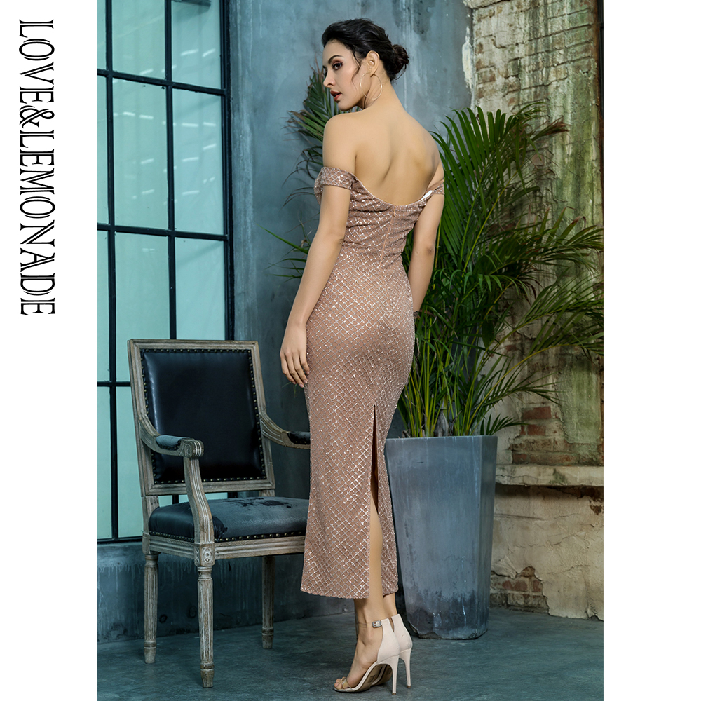 Love Lemonade Off the Shoulder Open Back Plating Glue Material Party Dress  LM81349ROSEGOLD-in Dresses from Women s Clothing on Aliexpress.com  e5589de944ca