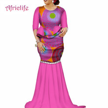 2019 New African Sexy Kanga Party Dresses for Women Dashiki Traditional Cotton Top and Floor Length Skirt Set 2 Pieces WY2359