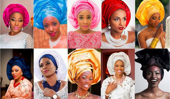 Hot Sales African Headtie With Beads High Quality 4pcs/Bag Headscarf 100% African Headtie & Wrapper For Wedding LRD5FF8D-2