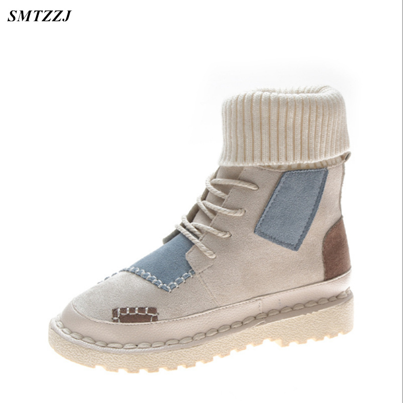 Women Boots Warm Winter Boots Female Casual S Shoes Suede Ankle Boots Women Botas Mujer Flat Plush Insole Snows Ladies Shoes