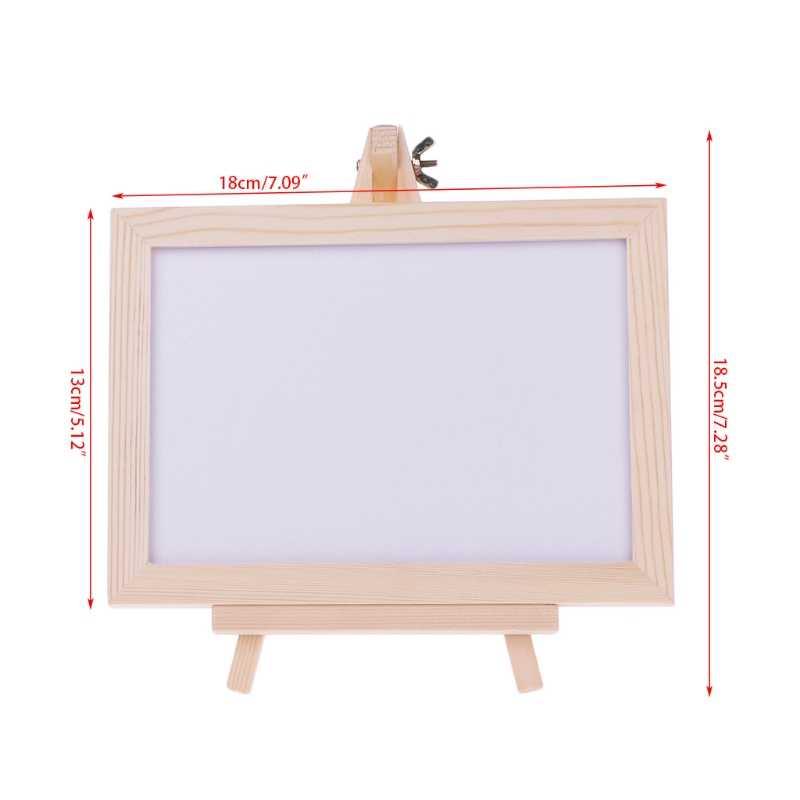 Desktop White Board Wood Frame Message Board Double Sided Whiteboard Easel  White Memo Board School Supply