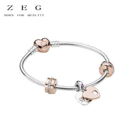 ZEG High Quality Pan 1:1 Original Copy Of The Logo Heart Bracelet Chain Chain Link Chain Plated Rose Gold Free Package Mail yoursfs 18k rose white gold plated letter best mum heart necklace chain best mother s day gift