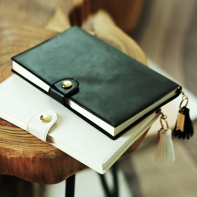 pure black and white fashion pu leather journal book diy pocket