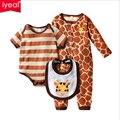 3 Pçs/set 0-18 M Animal Bonito Macacão de Bebê Recém-nascido Roupas + Bib Do Bebê Do Algodão Da Menina do Menino Roupas Definir macacão Conjuntos de Roupas Pijama