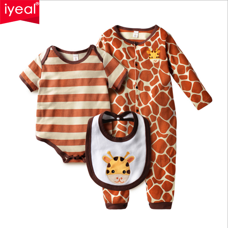 IYEAL 3Pcs/Set 0-18M Cute Animal Newborn Clothing Baby Rompers + Bib Cotton Baby Boy Girl Clothes Set Jumpsuit Roupas Pajama Set 2 pcs lot newborn baby girls clothing set cute pink cotton baby rompers boys jumpsuit roupas de infantil overalls coveralls