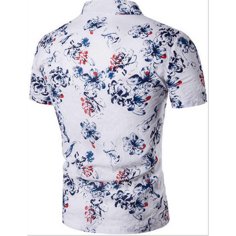 2017夏新綿とリネンカジュアル唐スーツ男性の花のシャツ