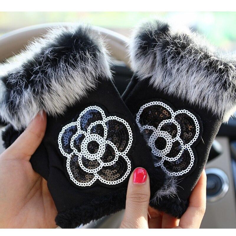 Hot Sale Women Winter Glove Faux Rabbit Fur Sequins Flower Wrist Warm Half Finger Gloves Female Mittens Luva