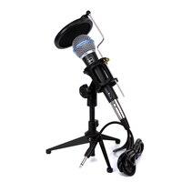 Wired Dynamic Karaoke Microphone Stand Desktop Mic Pop Filter Mount Windscreen For BETA 58A Computer KTV Studio Video Recording
