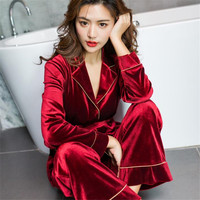 2019 Spring New Women 2 Piece Sets Home Wear Casual Luxury Female Tracksuit Velvet Top + Straight Pants Ladies Suits Ma396