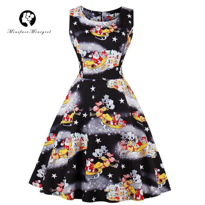 Christmas Dresses Winter Sleeveless O Neck Knee Length ...