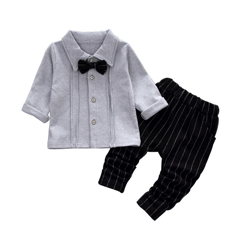 2018 Spring Autumn Gentleman Kids Boy Clothes Horse Tops Bow Tie T-shirt Long Sleeve Pants 2pcs Leggings Outfits Set Hot Selling