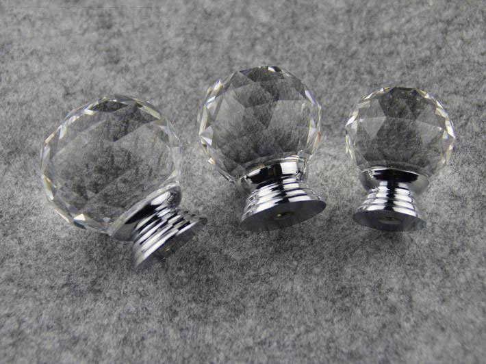 Door Hareware Clear Crystal Glass Chrome Cabinet Furniture Knobs New ...