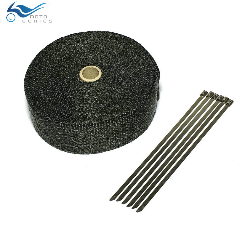 15 Meters Black Exhaust Wrap For Motorcycle Auto Exhaust Tape Muffler Manifold Heat Shield Wrap With Stainless Steel Ties