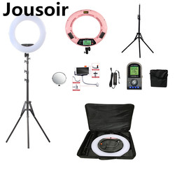 Pink FE-480II Bio-color Adjustable Ring Light Makeup beauty LED Ring Lamp Photographic broadcast Light + stand+ bag CD50