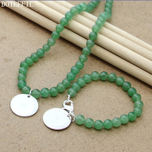 Pearl 8mm Chain Necklace Bracelet 925 Silver Charm Women Jewelry Natural Freshwater Green Pearls Necklace Bracelet Jewelry Set pearl 8mm chain necklace bracelet 925 silver charm round card women jewelry natural red pearls necklace bracelet jewelry set