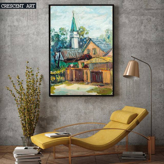 landschaft altes haus lgem lde wand poster abstrakte kunst bild leinwand drucken wohnkultur f r. Black Bedroom Furniture Sets. Home Design Ideas