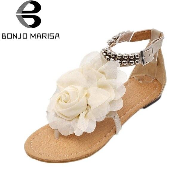 BONJOMARISA New Arrivals Low Heel Women Sandals Shoes Woman Hohemia Style Flower Summer leisure Beach Shoes Big Size 34-43