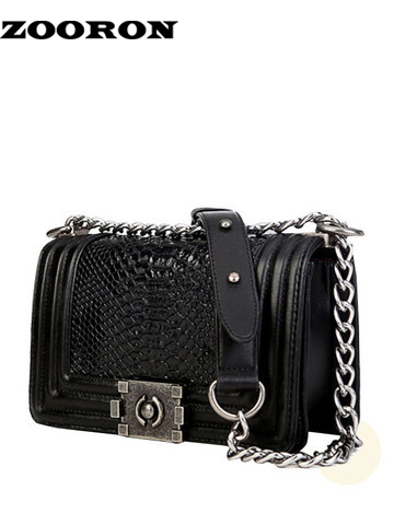 ФОТО ZOORON Snakeskin Women Bag Metal Chain Solid Bag Women Color Fashion Crossbody Bag Women Messenger Bags