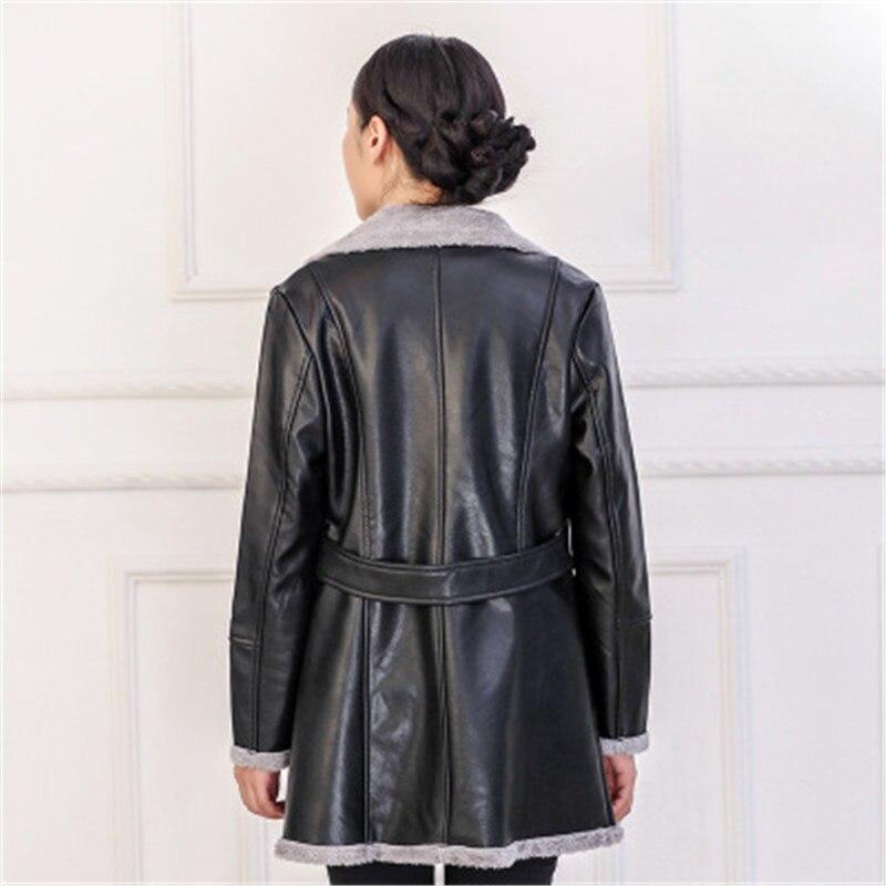 2018 Mince Pu Automne Manteaux Manteau Chaud Taille Cuir Q054 En Black Plus Moyen Hiver La Ioqrcjv Vestes Longueur Survêtement Femmes Flocage rI86wr