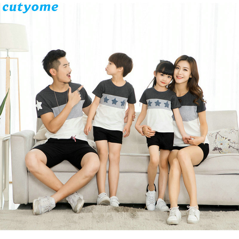 Mother Daughter Father Son Shorts Family Look Matching Clothes Beach Short Pants Outfits Mom Daddy Boys Girls Summer T shirt (9)