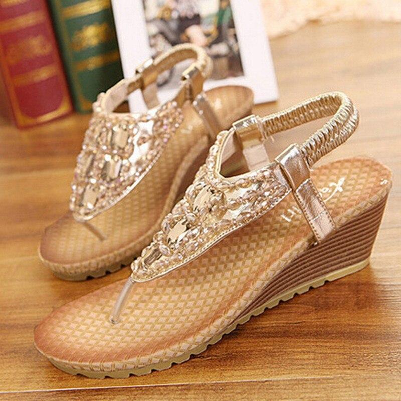 Women Wedge Sandal Bling Rhinestone Flip Flops Casual Silver Gold Platform  Sandals All-match Shoes Woman Size 34-40 Gold Silver. Platform   1.2 cm Heel  ... 79f5f66d5d58