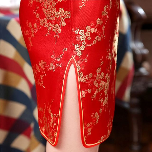 Burgundy #Traditional #Chinese Style #Cheongsam Women's Mini #Qipao #Dress #fashion #boygrl 4