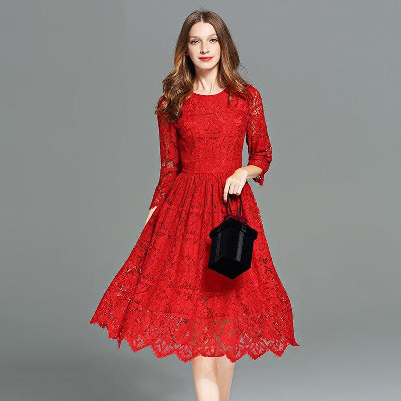 Automne Crochet Plage Robes La Robe Plus Hiver 2017 Taille Club Nouveau Élégant Rouge Fleurs Party Printemps Femmes Streetwear Vintage Bqw6x8E