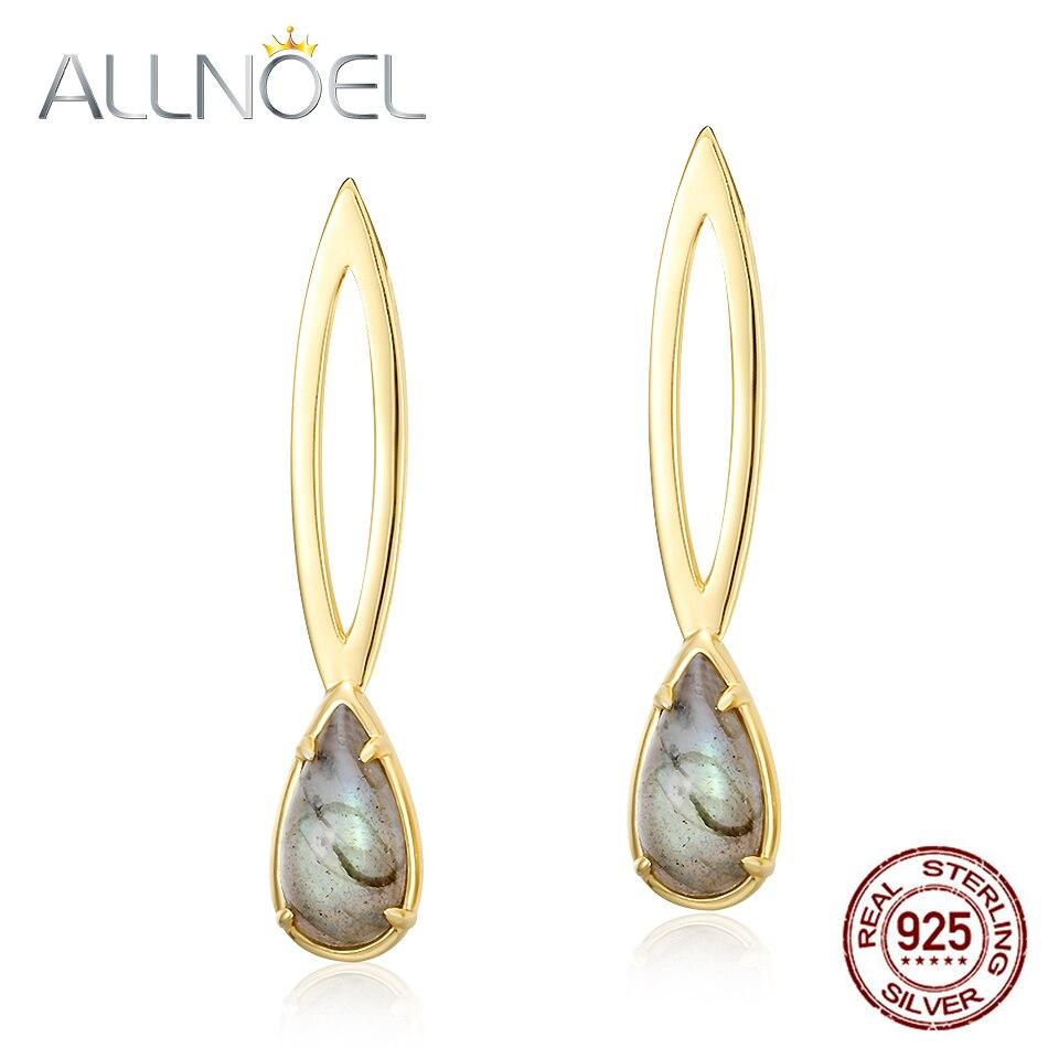 ALLNOEL Natural Labradorite Drop Earrings For Women 925 Sterling Silver Luxury Gemstone Jewelry Cosmic Eye Water Drop Earrings