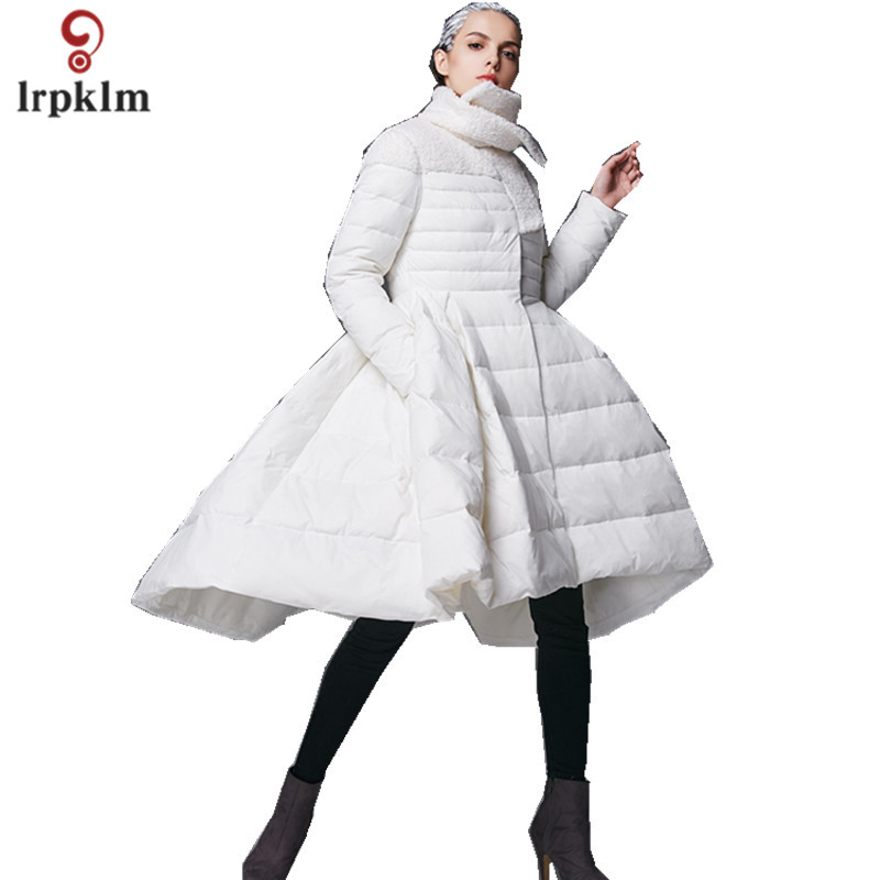 2017 New Fashion High Quality Women Winter Long   Down   Jackets Female Warm Ultra Duck   Down     Coat   Black White PQ128
