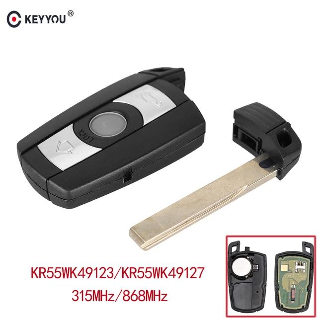 KEYYOU 315/868 MHz 3 botones de Control remoto llave de coche Fob PCF7945 Chip KR55WK49123 para BMW E60 E61 e70 E71 E72 E81 E82 E87 E88