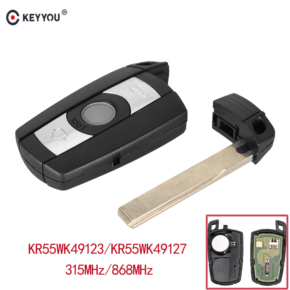 KEYYOU 315/868MHz 3 Buttons Remote Control Car Key Fob Case PCF7945 Chip KR55WK49123 for BMW E60 E61 E70 E71 E72 E81 E82 E87 E88 2pcs lot 24 smd car led license plate light lamp error free canbus function white 6000k for bmw e39 e60 e61 e70 e82 e90 e92