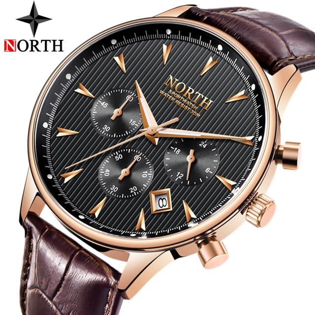 Relogio Masculino Luxury Brand NORTH Men Watches Auto Date Chronograph Quartz Watch Men Gold Casual Sport Military Wrist Watch