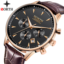 Relogio Masculino Luxury Brand NORTH Men Watches Auto Date Chronograph Quartz Watch Men Gold Casual Sport Military Wrist Watch(China)