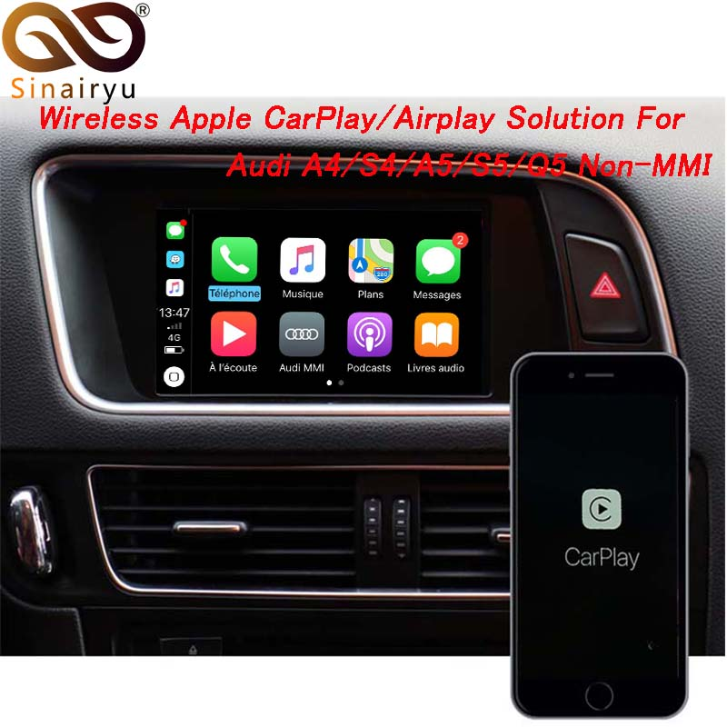 Sinairyu Wireless Apple CarPlay Video Interface Solution for A4 A5 B8 Q5 Without MMI With Audi
