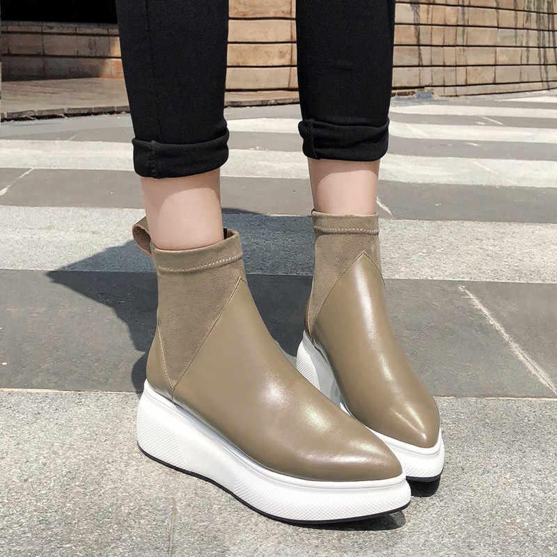 YMECHIC/ботинки из натуральной кожи сезон осень зима женские ботинки на платформе