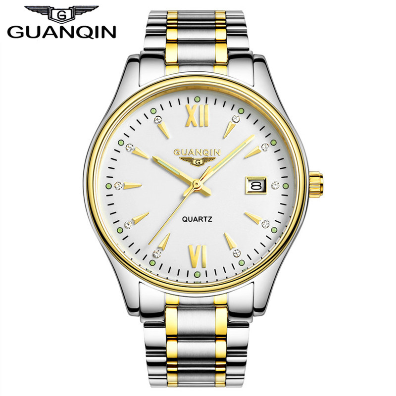 Watch Men luxury hot brand GUANQIN  fashion Men's Quartz Watch Casual Watch Dress watch Men Steel Wristwatch relogio masculino free drop shipping 2017 newest europe hot sales fashion brand gt watch high quality men women gifts silicone sports wristwatch