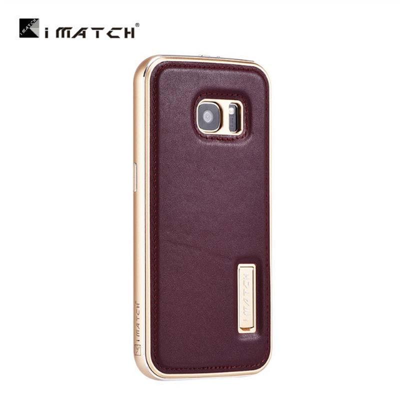 Original de Luxo Genuíno Couro De Vaca + Metal De Alumínio Para Samsung Galaxy S4 S5 S6 S7 S7 S6 BORDA BORDA NOTE5 Casos de Telefone JS0615