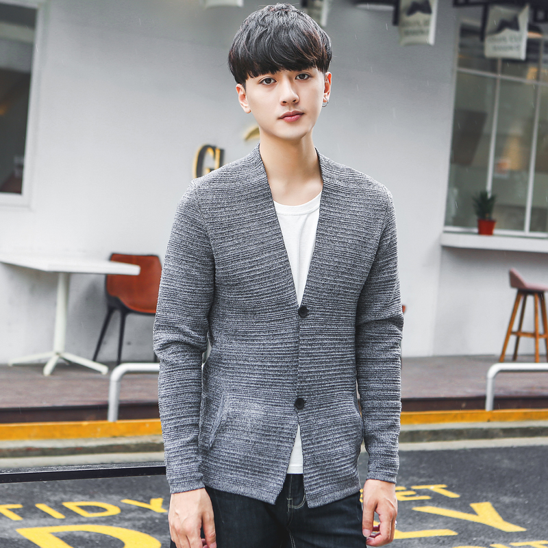 XMY3DWX Fashion male High-grade winter warmth Leisure cardiganpure color knitted sweater/male slim Fit high quality sweater