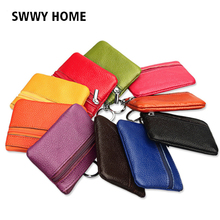 Luxury 100% Genuine Leather Wallet Women Purses Coin Purse Female Small Wallet Lady Purse For Girls Mini Money Bags Unisex 2019