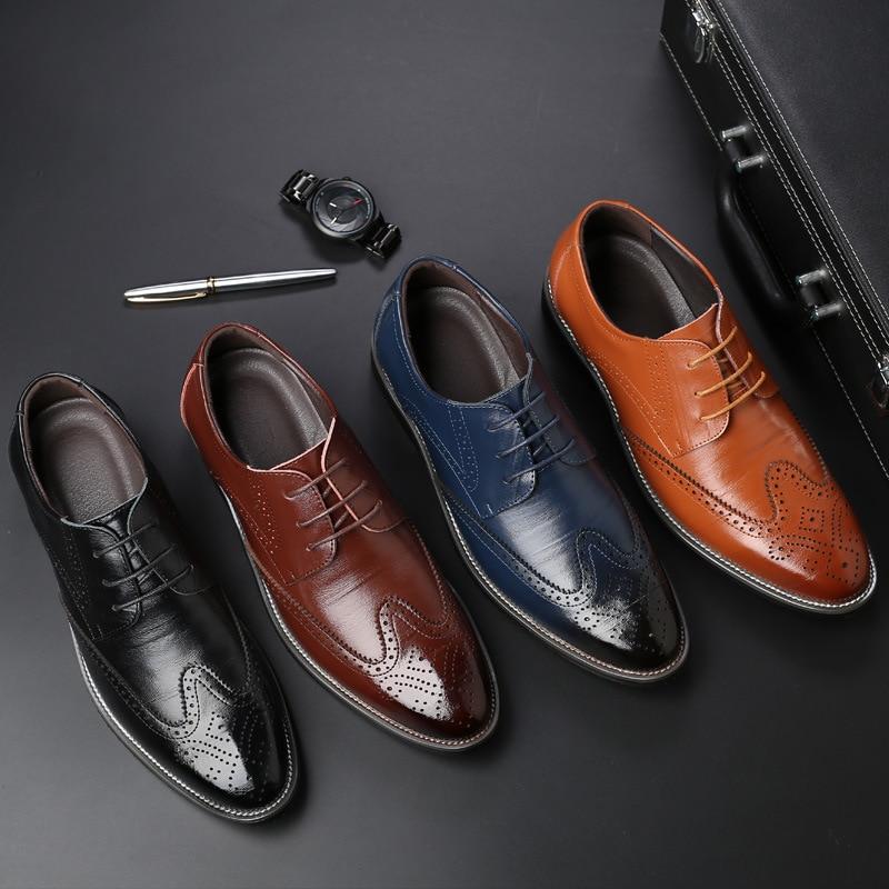 Men's Shoes Shoes 2018 New Fashion Style Designer Formal Mens Dress Shoes Genuine Leather Luxury Wedding Shoes Men Flats Office Shoes Lc9982-8803