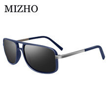 MIZHO UV400 Polaroid Sunglasses Unisex Square Vintage Rectangle Traveling Original Brand Design Polarized Sun glasses Men Retro(China)
