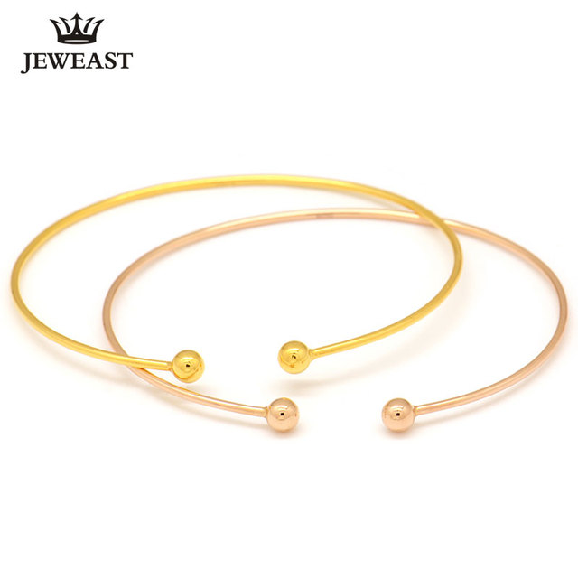 18k Gold Bangle Rose Real 750 Solid Classic Simple Hot Bacelets Smooth Round Beads Open Women Girl Miss Wear Gift Pure Party