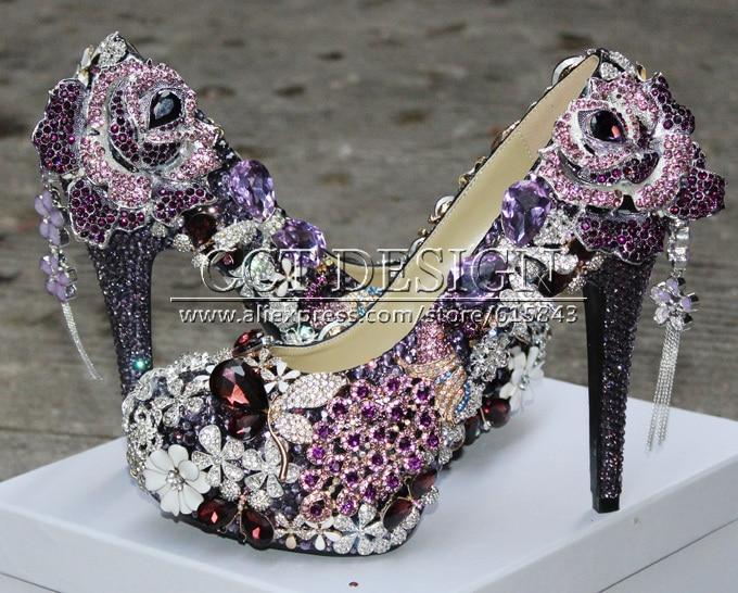 2017 new arrival super luxury sext lady purple rhinestone wedding shoes purple diamond high heels