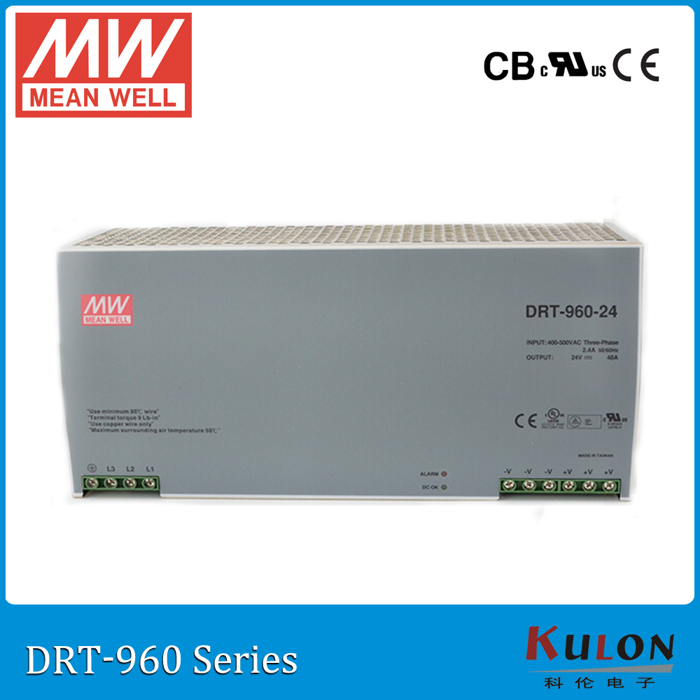 Original MEAN WELL DRT-960-24 960W 40A 24V three phase Industrial DIN Rail meanwell Power Supply DRT-960 original mean well drt 960 24 960w 40a 24v three phase industrial din rail meanwell power supply drt 960