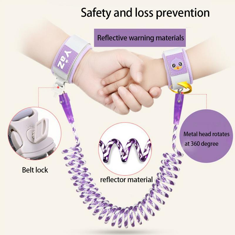Kids Anti Lost Wristband 360 degrees rotating Baby Safety Harness Strap Rope Walking Leash Hand Belt Band Toddlers Children S3