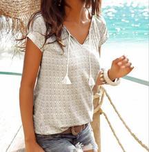 2019 Summer Fashion Woman Casual v-neck short-sleeve elastic printed comfortable funny cord T-shirt